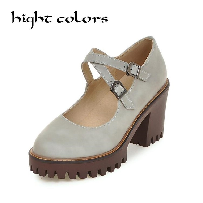 Shoes Women Round Toe Chunky High Heels Mary Janes Causal Ladies Shoes Comfort Thick Heels Pumps Grey Beige Black 34-43 9 10