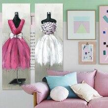 Figure oil painting modern fashion garment hanger wedding white rose red original digital inkjet canvas wall art home decor