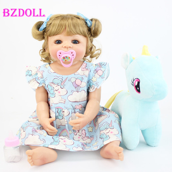 55cm Full Silicone Body Reborn Baby Doll Toy For Girl Vinyl Newborn Blonde Princess Toddler Babies Bebe Bathe Birthday Gift