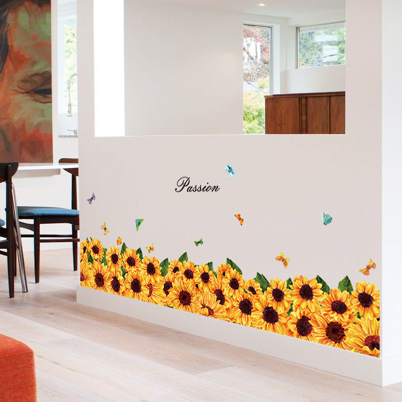 Sunflower Pattern Skirting Line Baseboard Wall Stickers