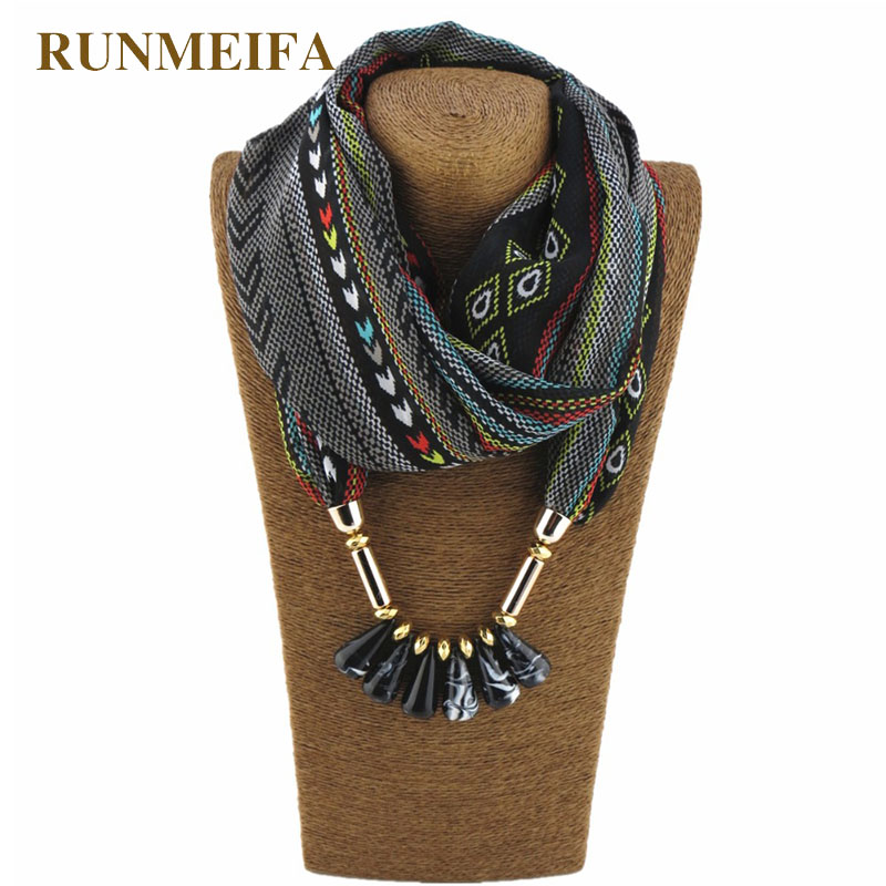 RUNMEIFA Bohemia Wind Polyester Scarf Bullet Pendant Charm Fashion Women Jewelry Scarf Necklace Shawls Wraps scarf Acessories