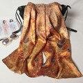 175X52CCM Новый Дизайн моды печати шелковый шарф ручной проката подол шелковые шарфы популярный стиль шелковый атлас обертывания женский