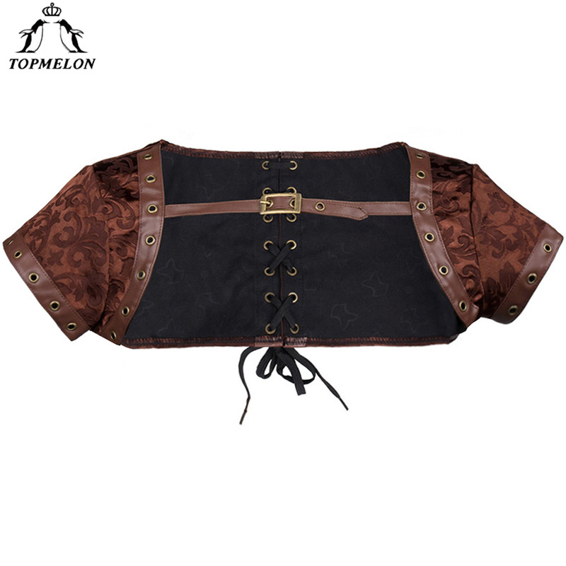 TOPMELON Steampunk Accessories   Bustier   Gothic Corselet   Corset   Women   Bustier     Corset   Leather Floral Short Sleeve Lace Up Tops