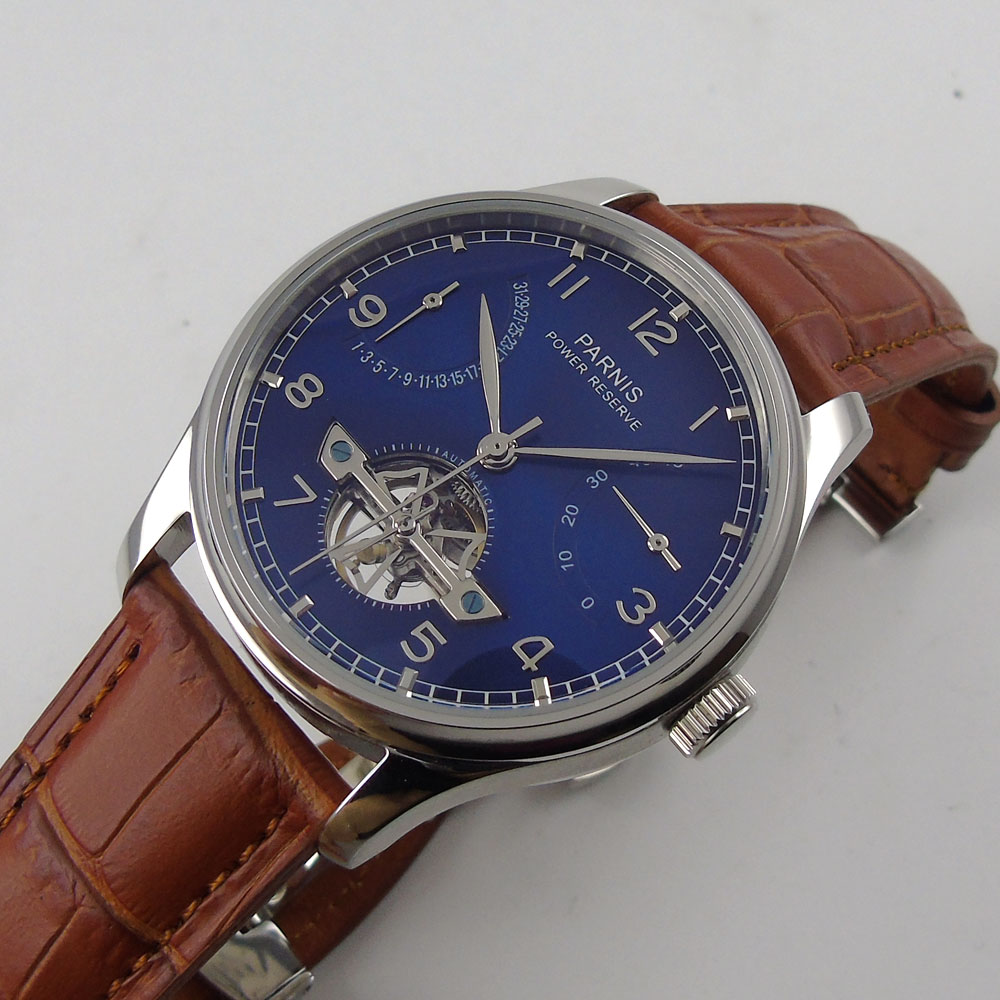 2018 Sweet gifts 43mm parnis Blue Dial Date adjust silver hands Deployment Valentines Romantic Automatic Mechanical men's Watch