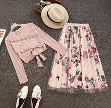 Amolapha mujeres de manga larga Camiseta Tops + malla Floral impreso faldas conjuntos de estilo corto sólido camisetas elegantes falda trajes para mujer
