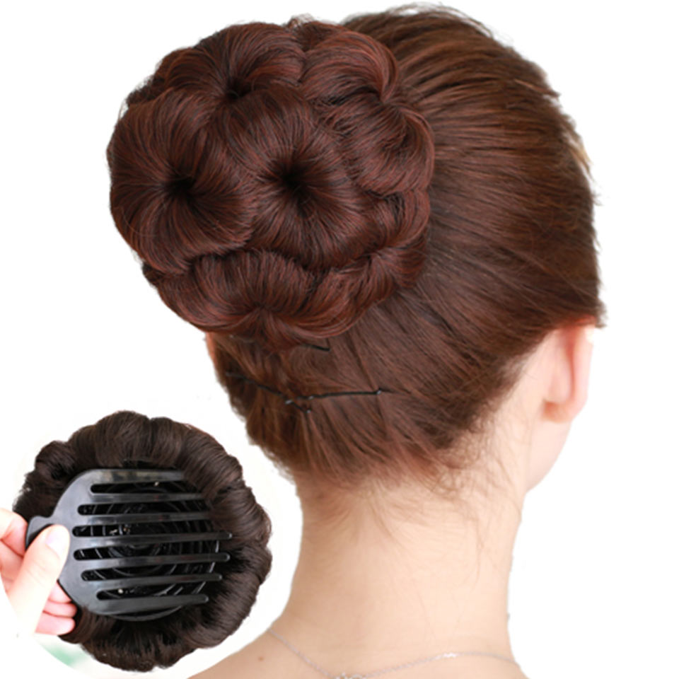 JINKAILI Hair Accessories High Temperature Fiber Synthetic Curly Chignon Bun Hairpiece For Women 9 Flowers Roller Clip In Fake
