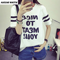 2017 Verano Impresión de la Letra Camiseta de Las Mujeres Ropa de Algodón de Manga Corta Camisetas Ocasionales Flojos Tops Camisetas Mujer