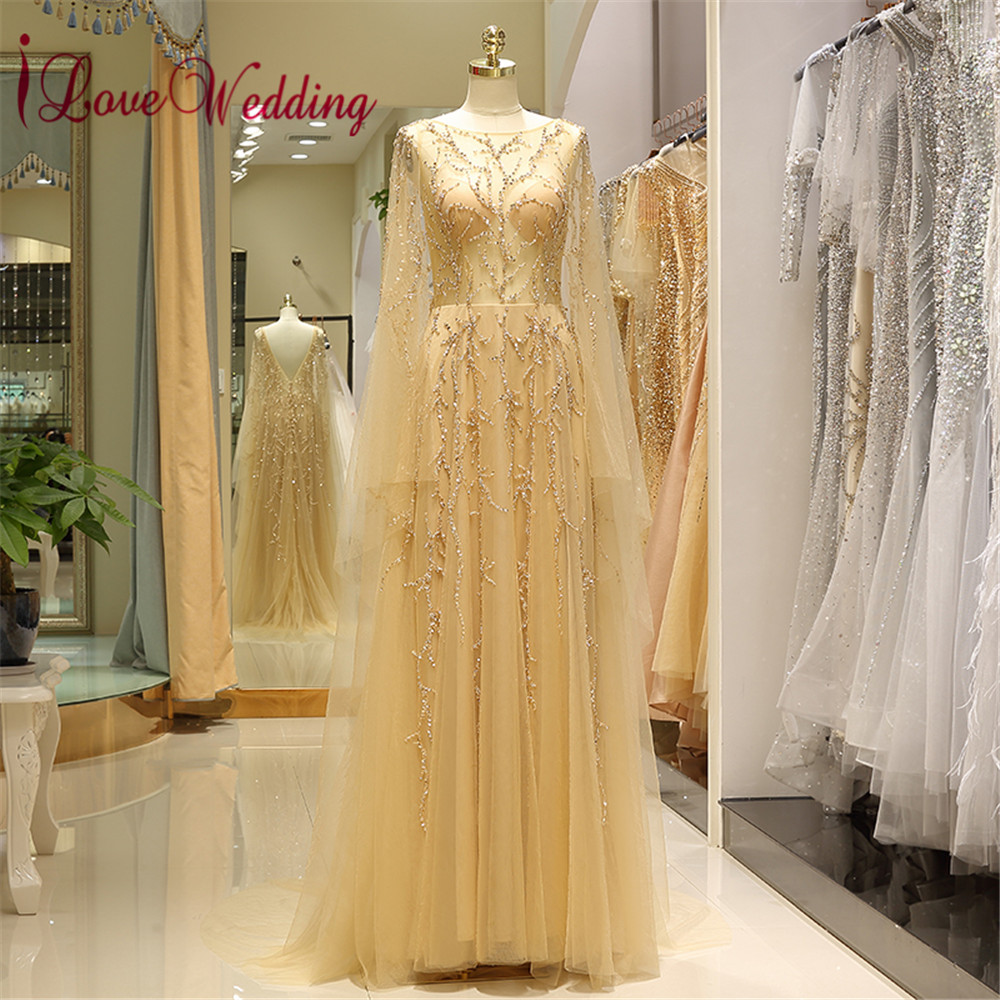 New Arrival 2018 Formal Champagne Evening Dress Custom made Long Sleeves Floor Length Luxurious Evening Dresses Long