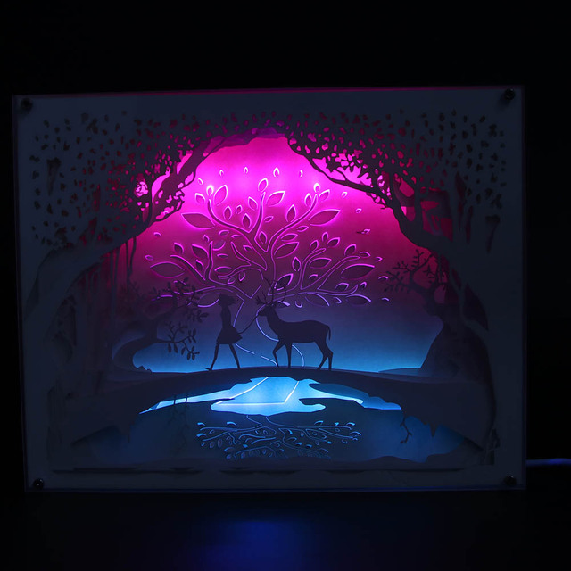 Free Shipping 1Piece Fairytales Illuminated Paper Cut Light Box 3D