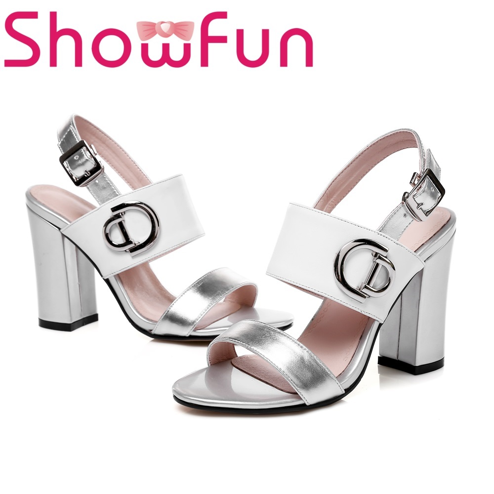 Showfun genuine leather shoes woman fashion buckle mixed colors square super high heel sandals mixed print square coaster