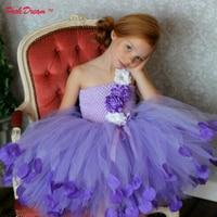 POSH DREAM Lavender Flower Petals Children Girls Tutu Dresses First Birthday Kids Girls Outfit Little Girls Baby Party Dress