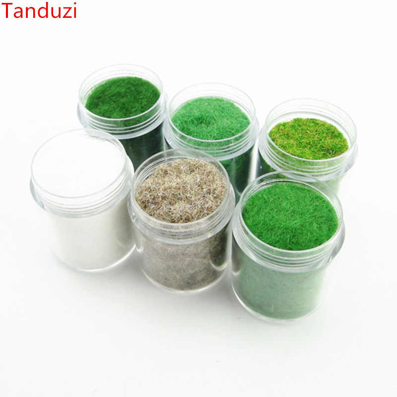 Tanduzi 30ml*6 Bottles Grass Powder Model Fake Grass Fairy Garden Mini Clay DIY Artificial Sand Table Landscape Building