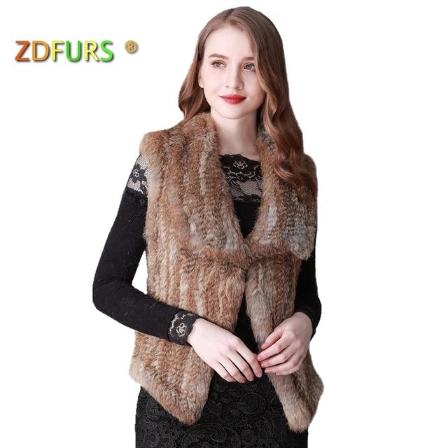 ZDFURS * hot sale brand rabbit fur vest knitted handmade vest  waistcoat large lapel rabbit fur  gilets ZDKR-165014
