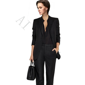 Jacket+Pants Womens Business Suits Black Female Office Uniform Ladies Winter Formal Suits Prom Party 2 Piece Single Breasted