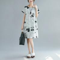 2018 Newspaper Print Cotton Linen Loose Women Original Features Dress Summer Fashion New Casual Short Sleeve Clothes
