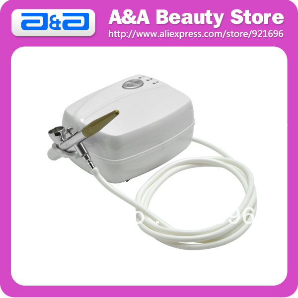 1pc Portable Single Action Airbrush Gun+ 1pc Mini Air Compressor, Suitable for Makeup Spray Salon Nail Hobby Cake ophir 0 3mm airbrush kit with mini air compressor single action airbrush gun for cake decorating nail art cosmetics ac002 ac007