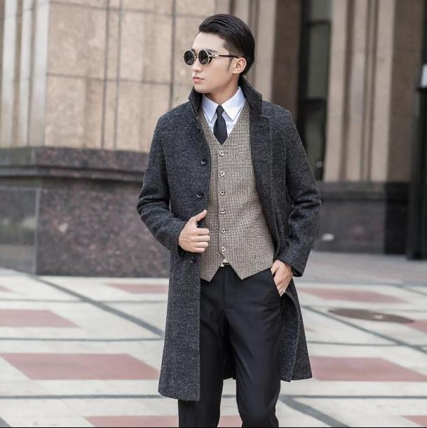 Popular Grey Pea Coat Men-Buy Cheap Grey Pea Coat Men lots from ...