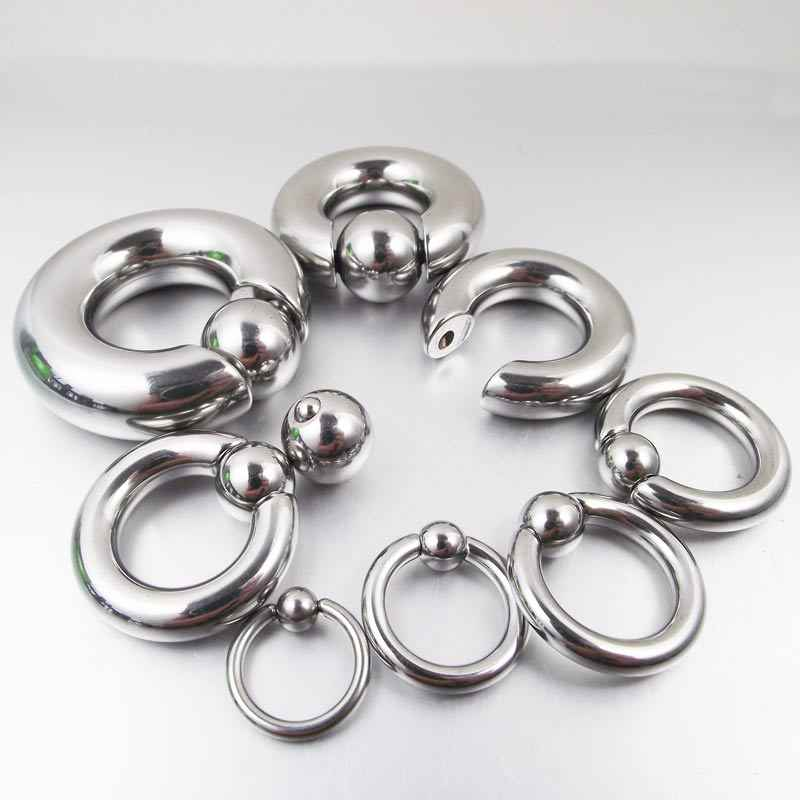 1 pieza de tamaño grande de acero inoxidable abalorio prisionero aro PA anillo ombligo anillos de botón Tragus anillos de nariz Piercing para el cuerpo joyería