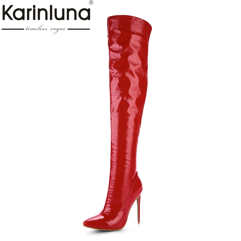 KARINLUNA 2017 Plus Size 33-48 Customized Pointed Toe Women Shoes Sexy Thin High Heel Party Wedding Shoe Winter Long Boots doratasia denim eourpean style big size 33 43 pointed toe women shoes sexy thin high heel brand design lady pumps party wedding