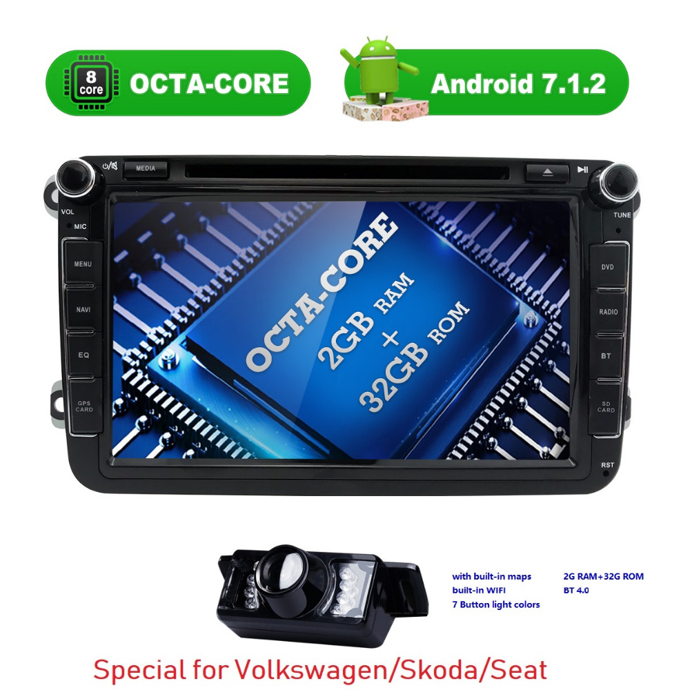 Autoradio 2 din gps Android 7.1 Car DVD Player for volkswagen VW passat b6 b5 ccT5 skoda octavia 2 3 Seat leon Golf 5 PoloTiguan