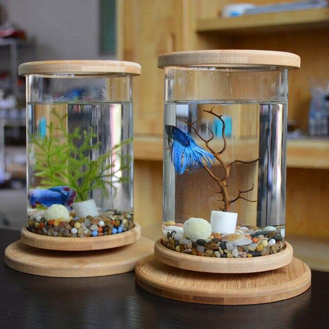 How To Decorate Fish Bowl: 1pcs Glass Betta Fish Tank Bamboo Base Mini Fish Tank
