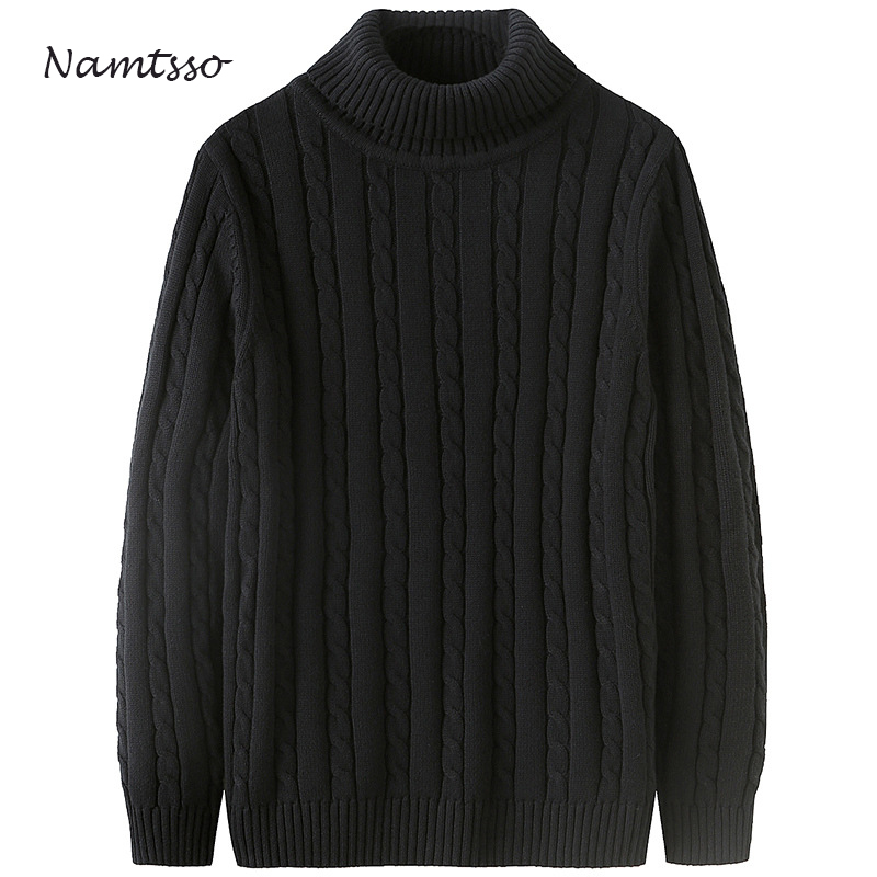 100% Cotton Men Winter Thick Coarse Wool Turtleneck O-neck Long Sleeve Sweater Knitwear Pull Brand Base Top Clothing 827