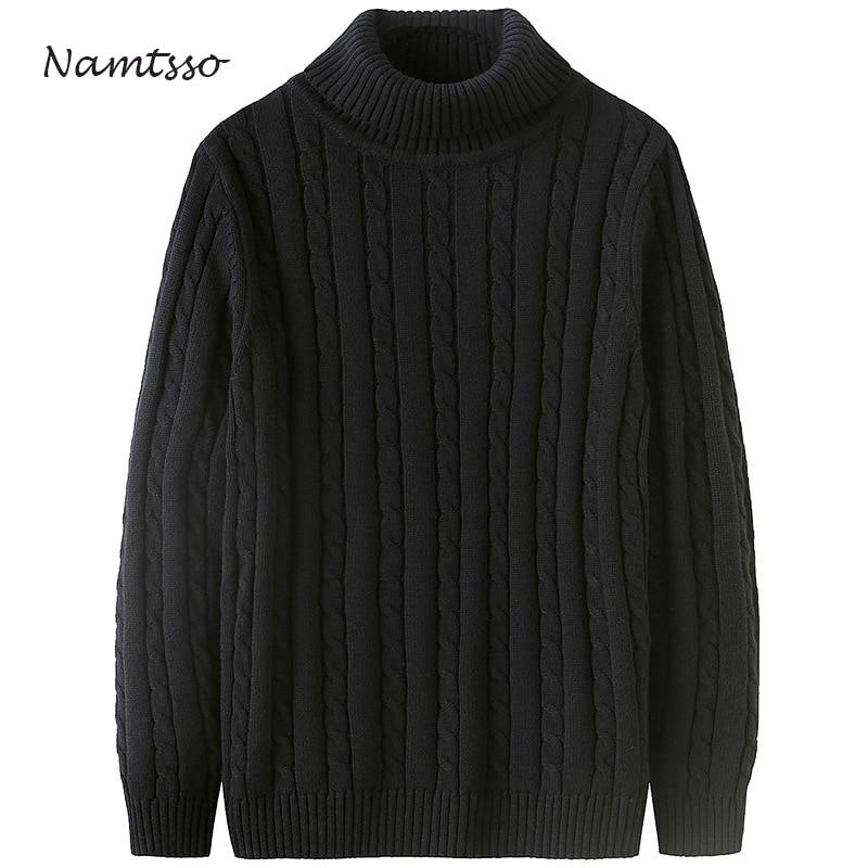 100 Cotton Men Winter Thick Coarse Wool Turtleneck Neck Long Sleeve Sweater Knitwear Pull