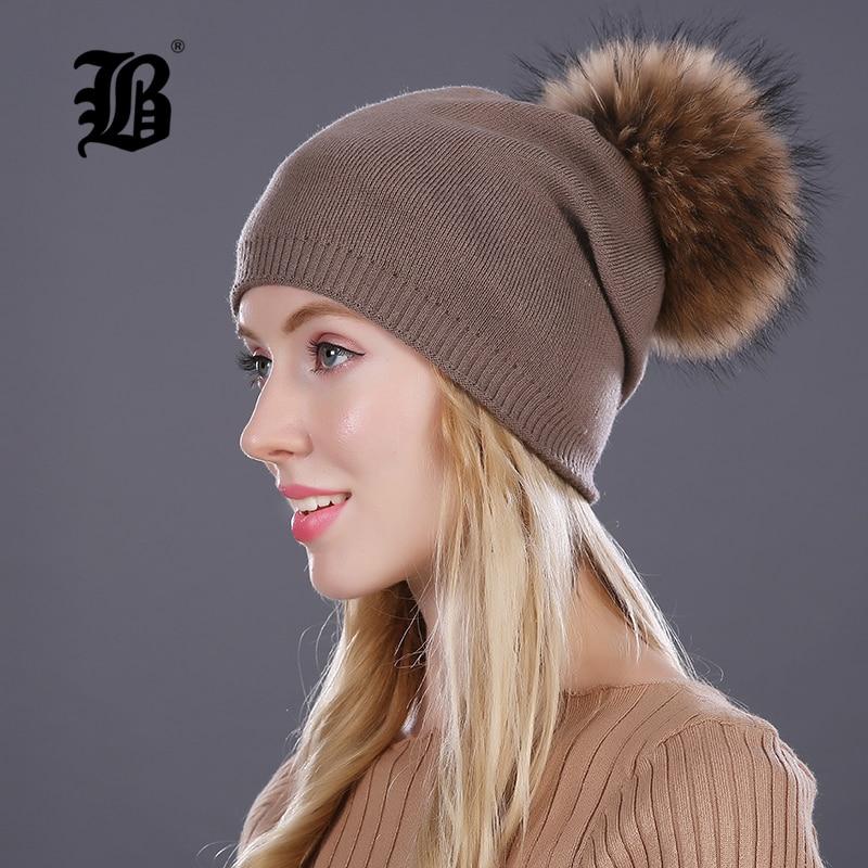 [FLB] Őszi téli beanies kötött gyapjú sapka unisex Skullies alkalmi sapka valódi mosómedve róka szőrme pompom tömör színek ski gorros sapka