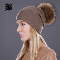 FLB Autumn Winter Beanies Knitted Wool Hat Unisex Skullies Casual Cap Real Raccoon Fox Fur