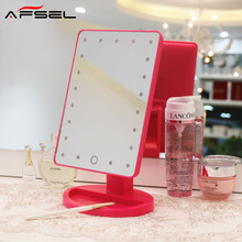 AFSEL LED Touch Screen Makeup Mirror Portable 16 LEDs Lighted Make up Cosmetic Mirror Adjust Brightness