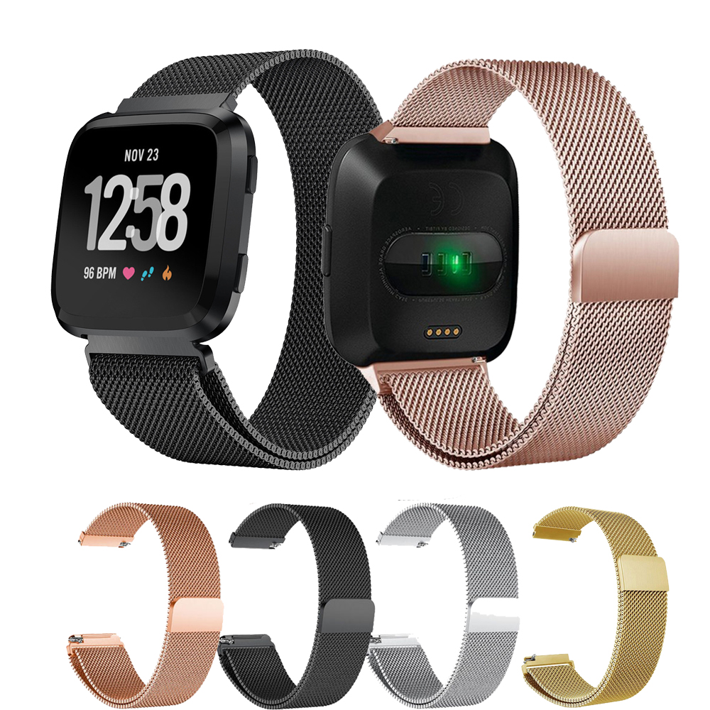 Stainless Steel Magnetic Milanese Loop Band For Fitbit Versa Replacement Wristband Metal Wrist Strap For Fit Bit Versa Watchband