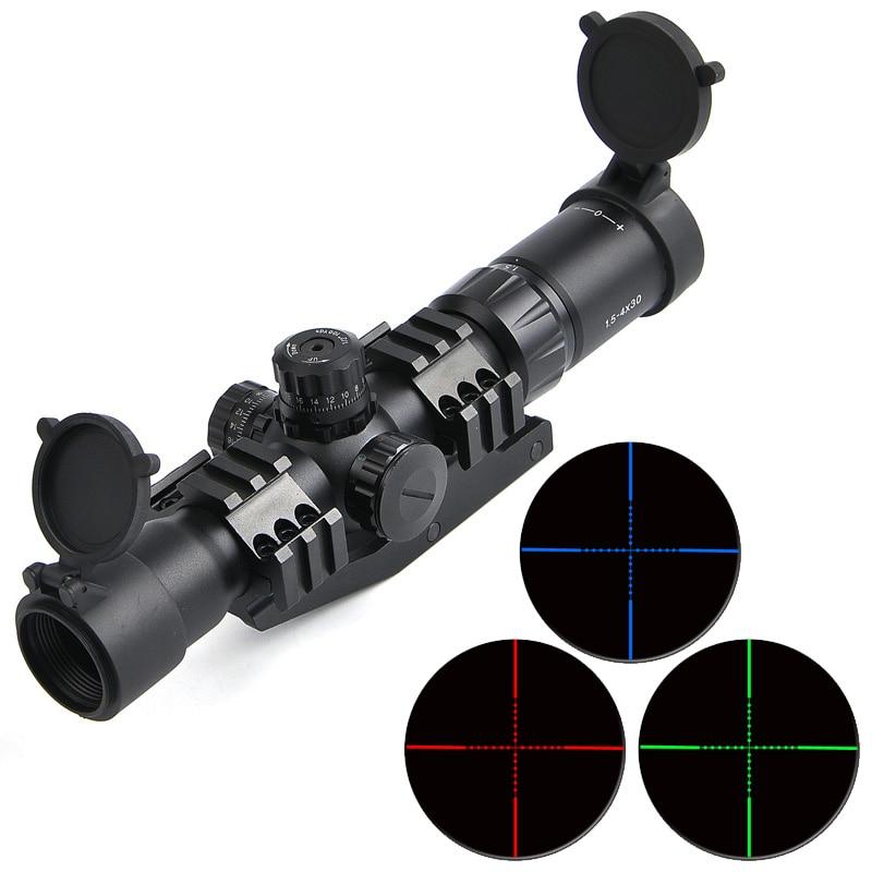 цена Bestsight 1.5-4x30 RGB Tri-Illuminated Mil-Dot Reticle Riflescope Tactical Optics Scope With 11/20mm Mount Sniper Hunting