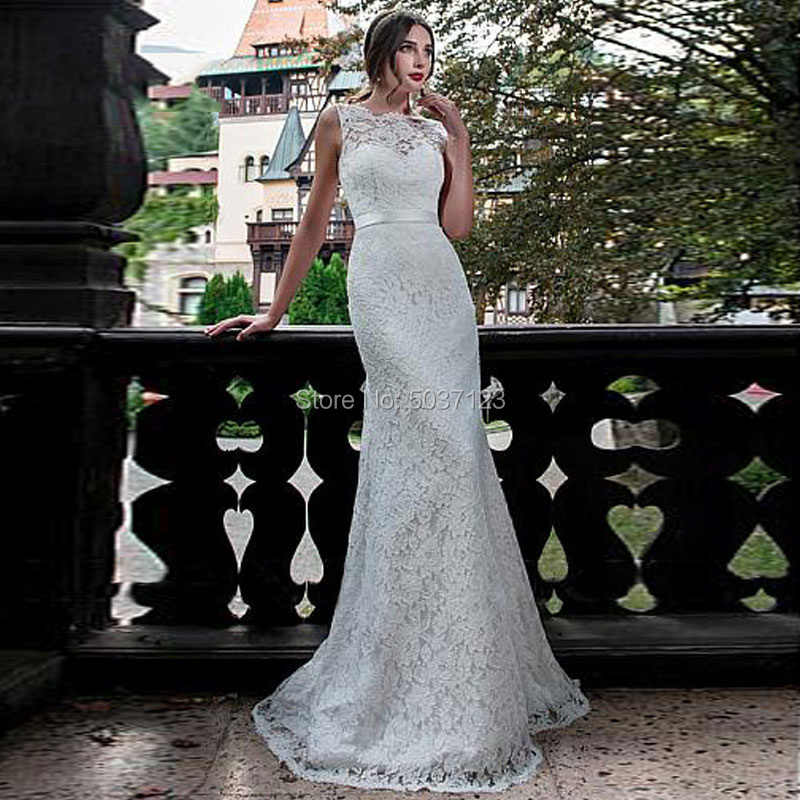 Mermaid Wedding Dresses Vestido De Noiva O Neck Sleeveless Backless Lace Appliques Floor Length Bridal Gown With Court Train