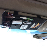 Car styling Microfiber leather Multi-function Storage bag CD Glass Pen Cards Holder Sun visor Type Auto Accessories