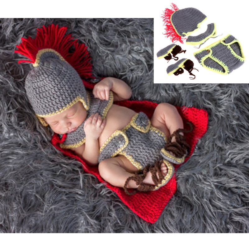 COCKCON Costumes Knight Newborn Baby Girl Boy Crochet Knit Costume Photo Photography Prop Hats Outfits