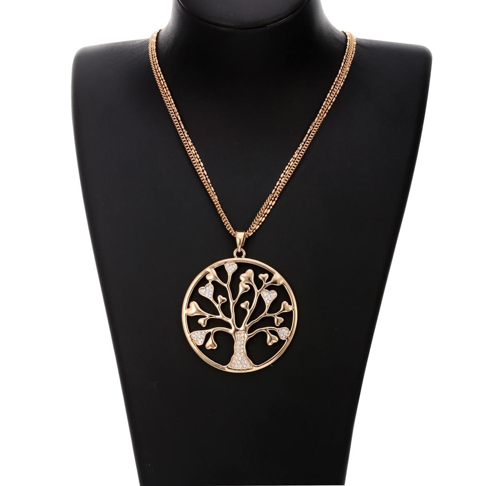 Pohon Kehidupan Liontin Kalung untuk Wanita Vintage Bersinar Kristal - Perhiasan fashion - Foto 6