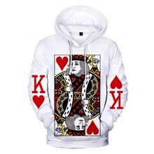 Hot Bán Áo Poker 3D Hoodies Người Đàn Ông Phụ Nữ Harajuku Áo Nỉ In Mới trái tim Màu Đỏ K Xi 3D Hoodies Người Đàn Ông của giản dị Áo Nỉ