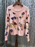 2018 лето новые женские Круглый воротник диких длинными рукавами бисером свитер Топ 819