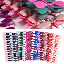 24pc Matte False Short Pointed Soft Pink Nude Red Black Blue Fake Stiletto Nails Full Cover Pure Colour Candy Purple Khaki White(China)