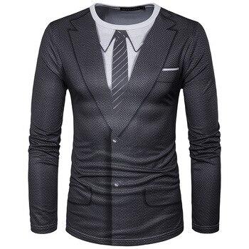 c84a5fa3 3D Fake Suit Print T Shirt Men Fashion Slim Fit Long Sleeve Hip—Free  Shipping
