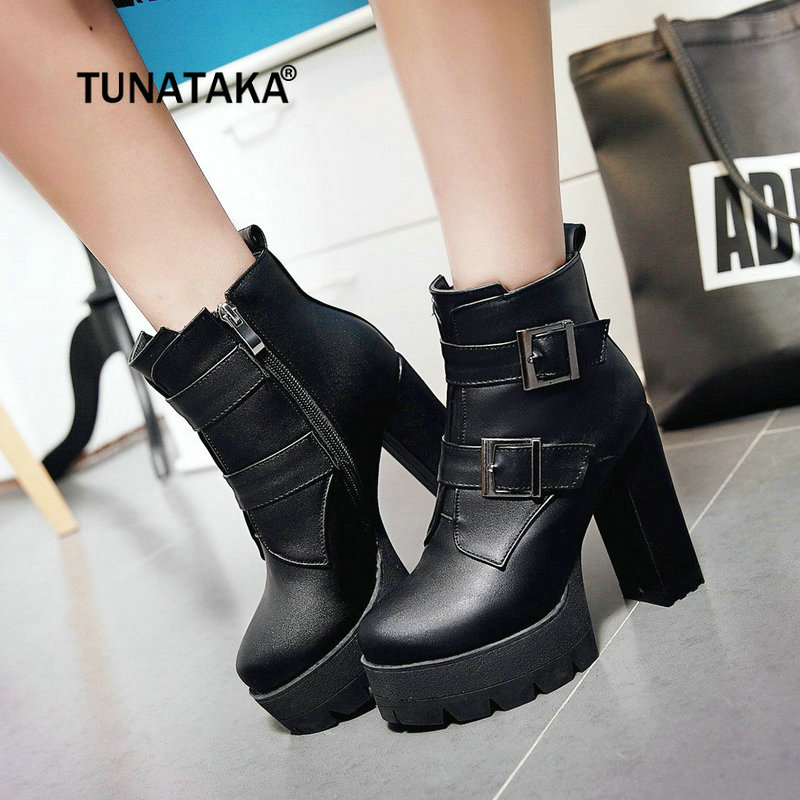 Women Ankle Boots Thick High Heel Fashion Boots Pu Leather Platform Side Ziper Winter Ladies Shoes Black Brown Red basic 2018 women thick heel ankle boots black pu fleeces round toe work shoe red heel winter spring lady super high heel boots