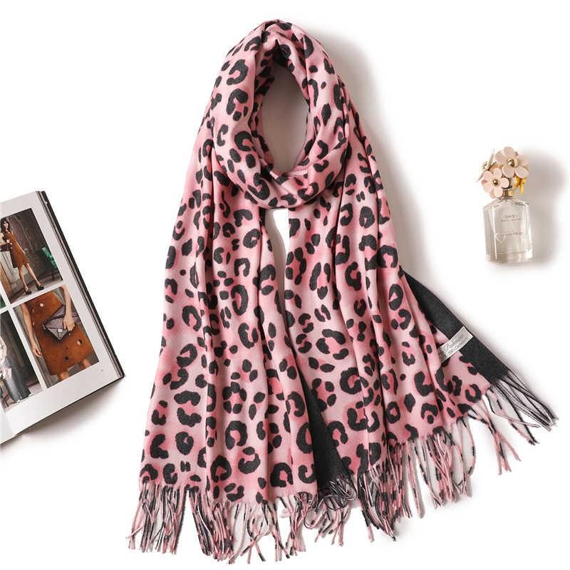 Designer brand women scarf fashion 2019 winter cashmere scarves Leopard  Print long pashmina lady shawls wraps neck head warmer