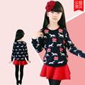 Niños suéter de otoño e invierno engrosamiento del todo-fósforo de flores de impresión de punto suéter del o-cuello básico de la camisa del caballo de la historieta