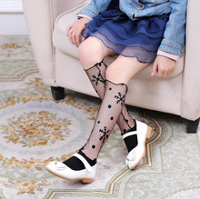 Spring and Autumn Girls Socks Fashion Hollow Out princess Mesh Lace bright silk wild children girls baby tube socks