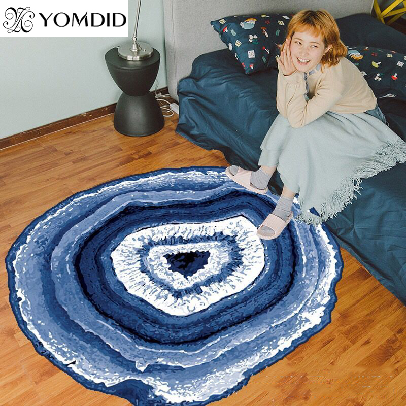 Tree Rings Carpet Mediterranean style Rug Blue Lake Living Room Anti-slip Rug 80cm/100cm/120cm Chair Mat for Kid Room Home decor
