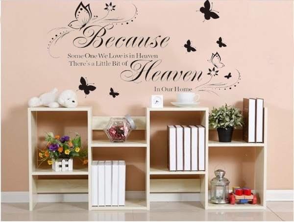 Heaven In Our Home Quote Wall Stickers Vinyl Wall Decals Home Decor Butterflies Wall Wallpaper Flower