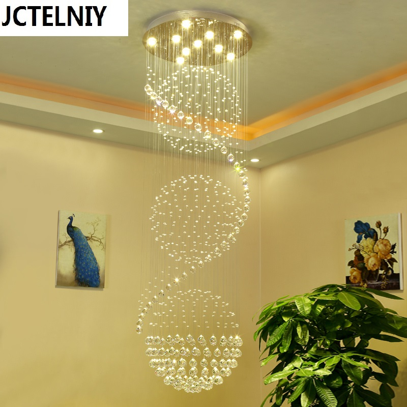 Modern brief stair pendant light crystal long pendant light stair lamp led turning large pendant lamp free shipping rotating 681 bohemia stair lamp crystal large pendant light