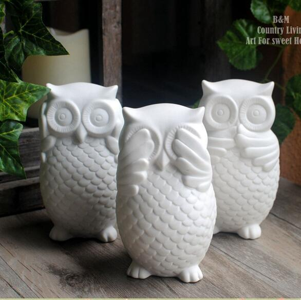 3 Pcs Lot White Ceramic Owl Figurines Ornaments Modern Home Decors Creative Animal Statues
