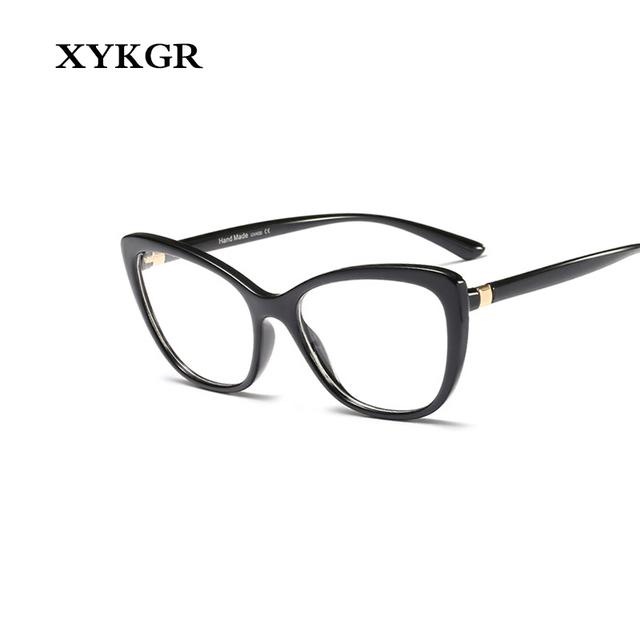 XYKGR fashion female optical computer glasses frame leopard trend cat eye glasses frame men and women high quality black glasses