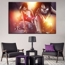 HD Prints Paintings Canvas Living Room Decor 1 Piece/Set Anime One Piece Poster Monkey D Luffy Pictures Modern Wall Art Frame(China)